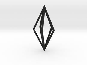 Diamond Pendant mk1 in Black Natural Versatile Plastic