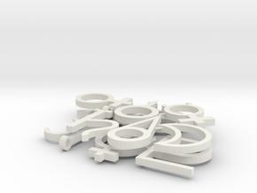 Astronomical Symbols in White Natural Versatile Plastic