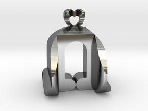 I♥U Shape 2 - View 3 in Fine Detail Polished Silver