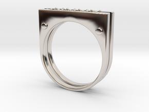 Plate Ring Men Stl in Rhodium Plated Brass