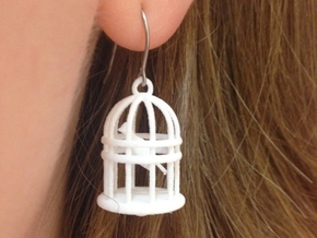 Bird Cage Earrings in White Natural Versatile Plastic