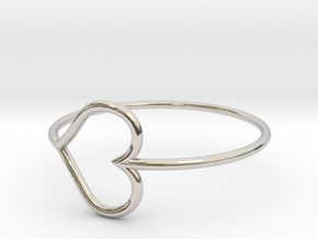 Size 8 Love Heart in Rhodium Plated Brass