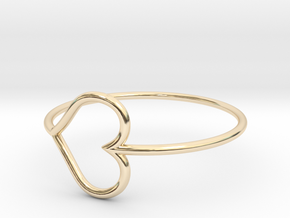 Size 11 Love Heart in 14k Gold Plated Brass