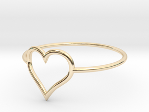 Size 6 Love Heart A in 14k Gold Plated Brass