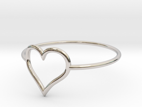 Size 8 Love Heart A in Rhodium Plated Brass