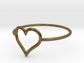 Size 8 Love Heart A in Polished Bronze