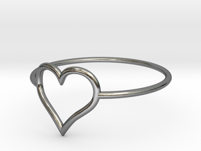 Size 10 Love Heart A in Fine Detail Polished Silver