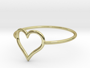 Size 11 Love Heart A in 18k Gold Plated Brass