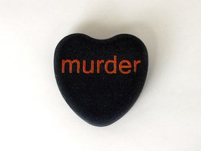 """Candy Heart """"murder"""" - Black/Red in Full Color Sandstone"""