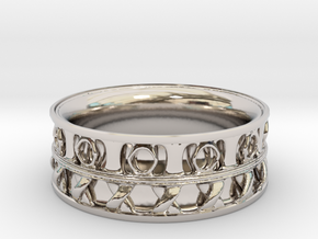 King Ring 1 in Rhodium Plated Brass