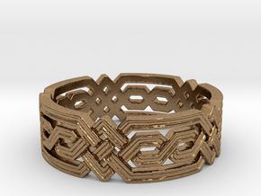 Fantasy Geometric Knot Ring in Raw Brass