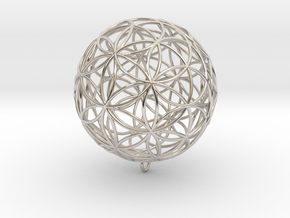 Pendant 45mm Flower Of Life  in Rhodium Plated Brass