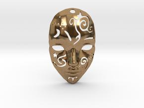 Festival Mask Pendant in Natural Brass
