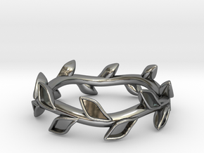 Leaf Band -  Size 5 in Fine Detail Polished Silver