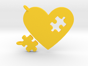 Heart Puzzle Keychains in Yellow Processed Versatile Plastic