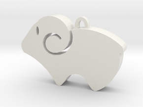Simple Aries Keychain in White Natural Versatile Plastic