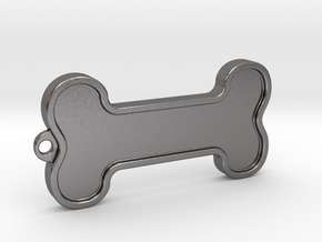 Dog Bone Keychain in Polished Nickel Steel