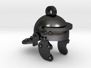 Roman Helmet Keychain  in Polished and Bronzed Black Steel