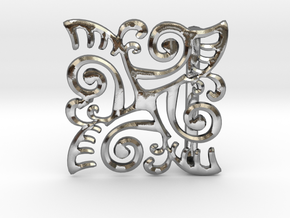 Ornate Belt Buckle  in Polished Silver