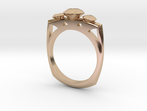 FJ ThreeStoneMagicSetting Square2 in 14k Rose Gold Plated Brass