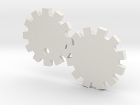 Gears Keychain in White Natural Versatile Plastic