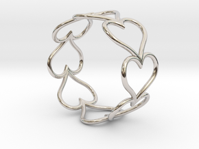 Size 7 Love Heart D in Rhodium Plated Brass