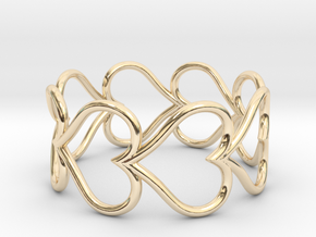 Size 11 Love Heart D in 14k Gold Plated Brass