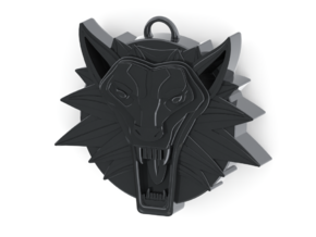 Two Sided Wolf Head Medallion Pendant in Polished Silver