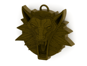 Two Sided Wolf Head Medallion Pendant in Natural Brass