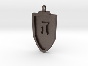 Medieval J Shield Pendant in Polished Bronzed Silver Steel