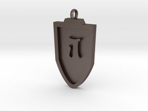 Medieval J Shield Pendant in Polished Bronzed Silver Steel