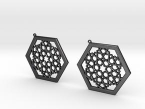 J&M Islamic Inspired Geometric Earrings in Polished and Bronzed Black Steel