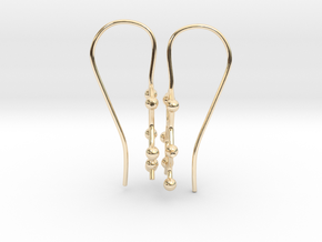 Caffeine molecule earrings with fishhook loops  in 14K Gold