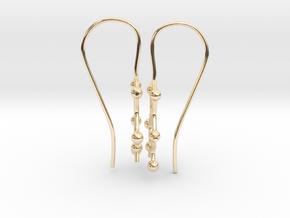 Caffeine molecule earrings with fishhook loops  in 14K Yellow Gold