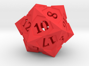 'Starry' D20 Balanced Gaming Die in Red Processed Versatile Plastic