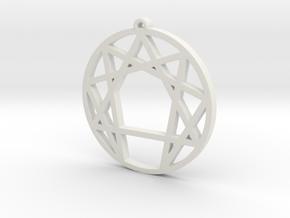 Enneagram Pendant Small (1 inch) in White Strong & Flexible