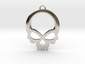 Skull Pendant in Rhodium Plated Brass