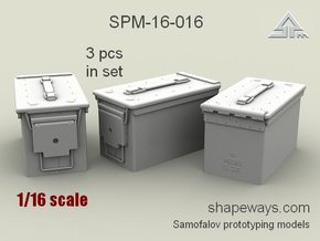 1/16 SPM-16-016 cal.50 ammobox, x3 in set in Frosted Extreme Detail