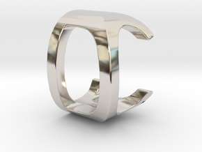 Two way letter pendant - CD DC in Rhodium Plated Brass