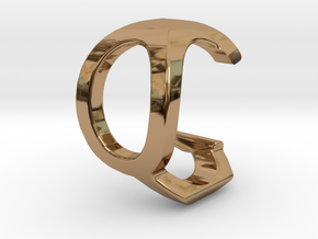 Two way letter pendant - CQ QC in Polished Brass