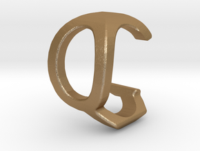 Two way letter pendant - CQ QC in Matte Gold Steel