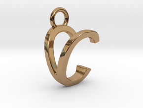 Two way letter pendant - CV VC in Polished Brass