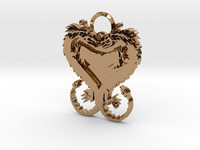 Dragonheart Keychain in Polished Brass