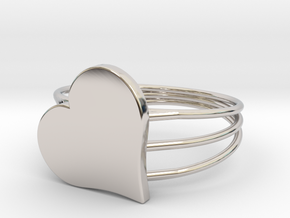 Size 7 Heart For ALL in Rhodium Plated Brass