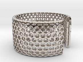 Geotombik Bracelet / Cuff in Rhodium Plated Brass
