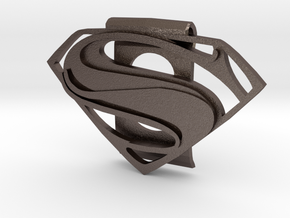 Superman Money Clip in Polished Bronzed Silver Steel