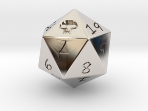 D20 Swamp in Rhodium Plated Brass: Medium