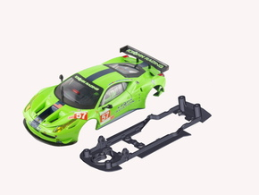 S08-ST3 Chassis for Carrera Ferrari 458 GT2 SSD/LM in Black Strong & Flexible