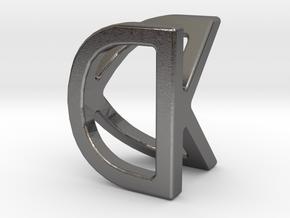 Two way letter pendant - DK KD in Polished Nickel Steel