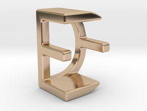 Two way letter pendant - DE ED in 14k Rose Gold Plated Brass